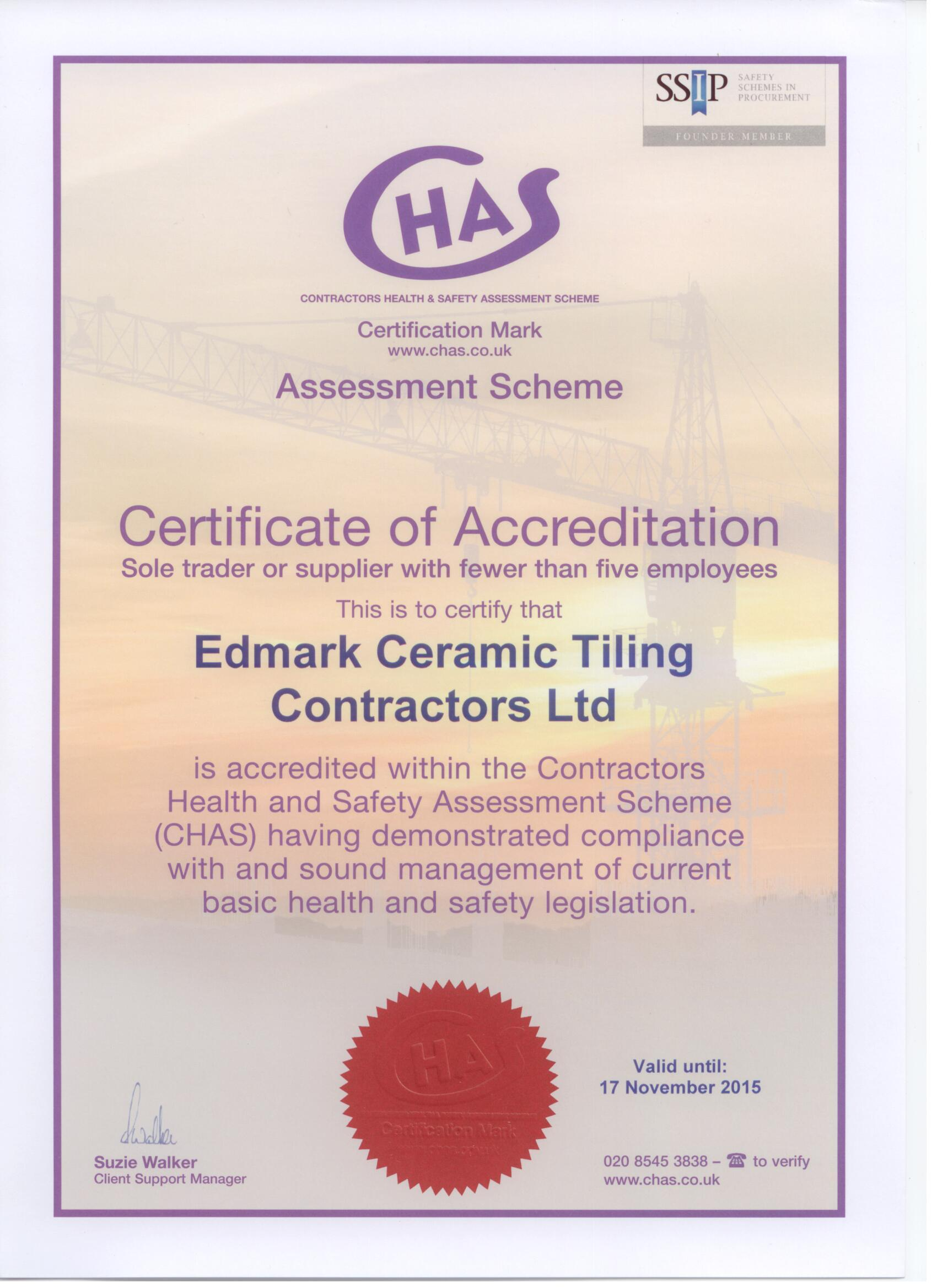 CHAS certificate 2014 001